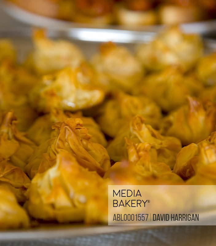 Close up of filo pastry parcels