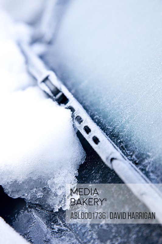 Close up of snow and ice on a car windscreen