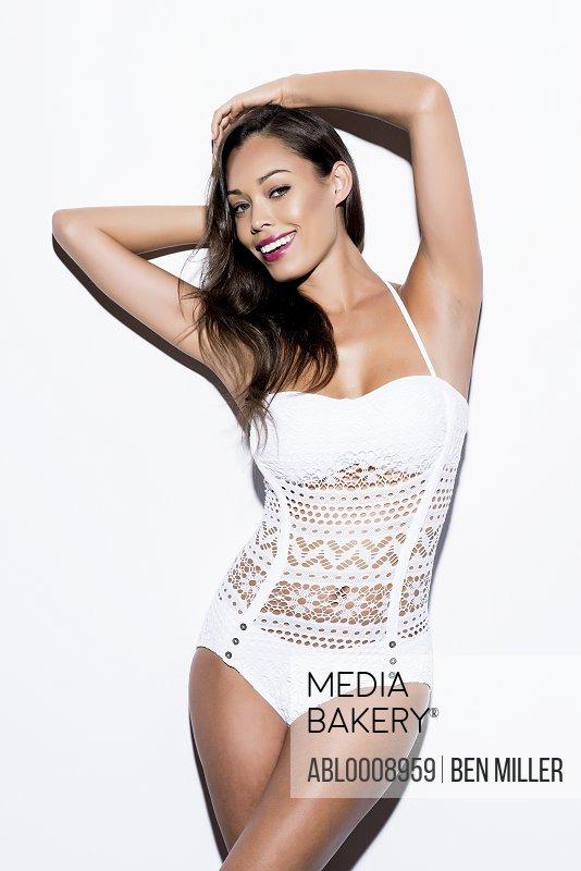 Woman Wearing White Swimsuit