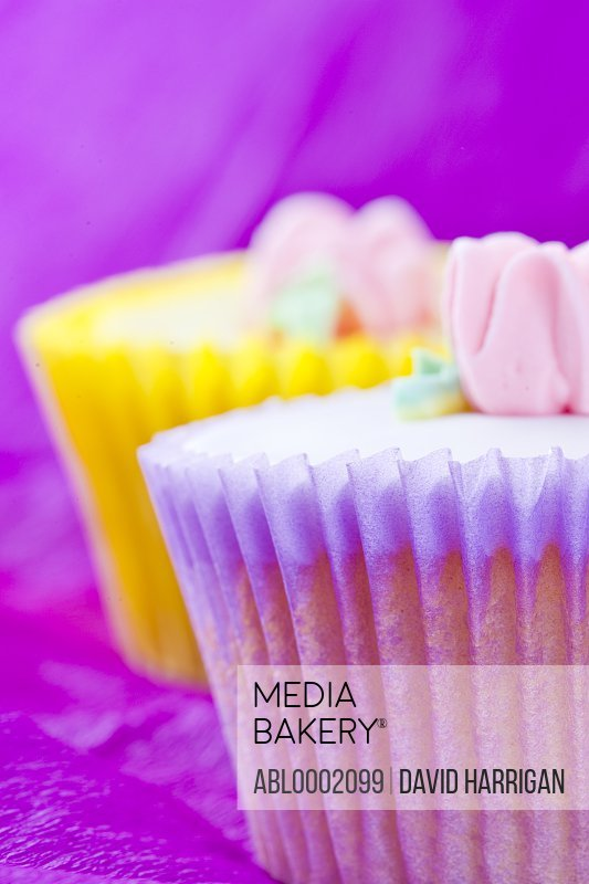 Pink and  Yellow Cupcakes with Pastel Pink Flower Decoration