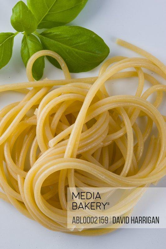 Spaghetti and Basil Leaves