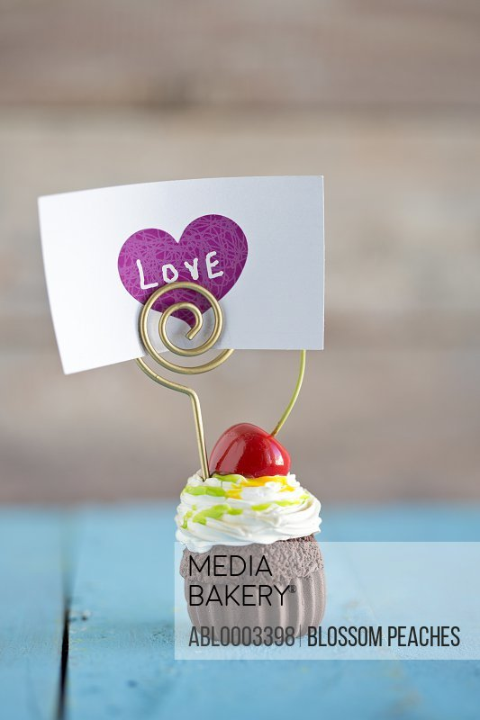 Fresh Cherry and Chocolate Cupcake with Love Card