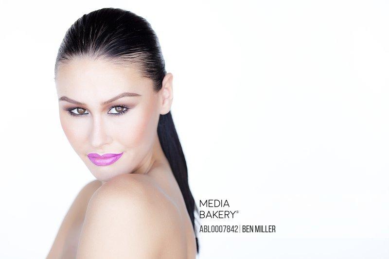 Portrait of Woman with Purple Lipstick