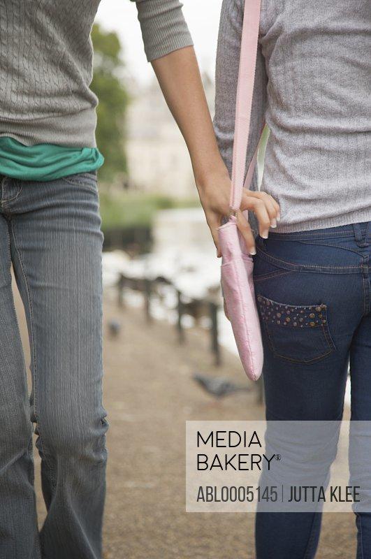 Young woman hand grabbing woman handbag -headless