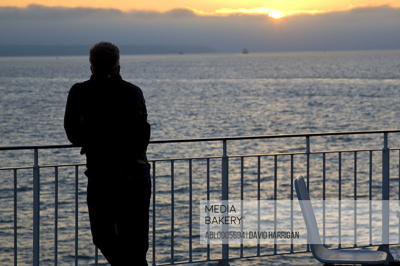 Back view of a man leaning over the railings of a ferry boat looking at the sunset