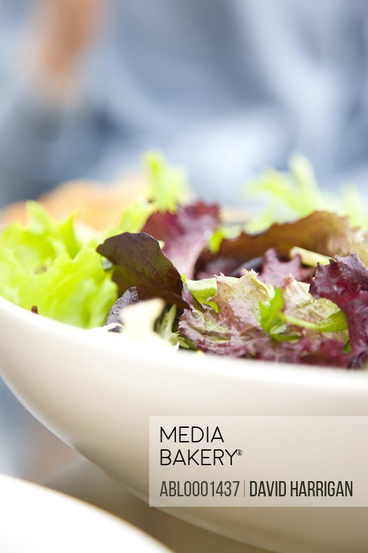 Close up of a bowl of mixed leaf salad