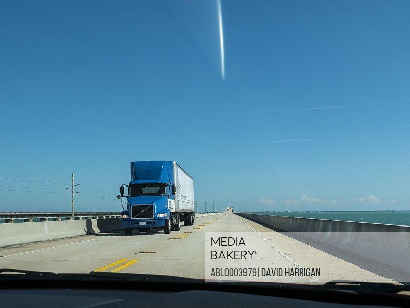 Truck Driving on the Seven Mile Bridge, Florida Keys, USA