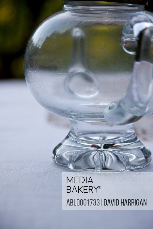 Close up of an empty glass jug