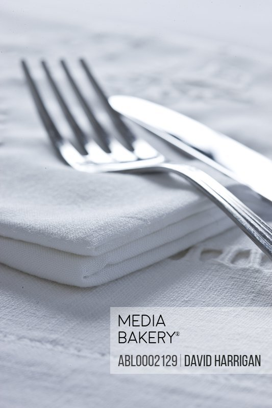 Knife and Fork on Cloth Napkin