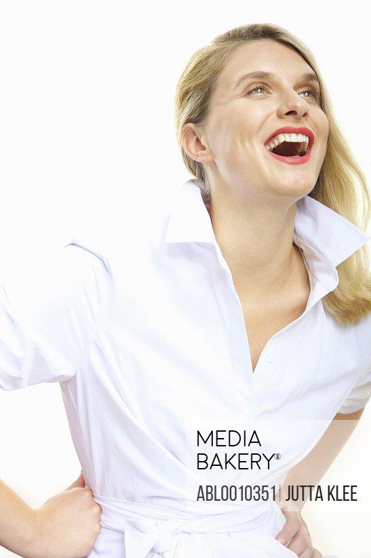 Laughing Young Woman Wearing Shirt dress