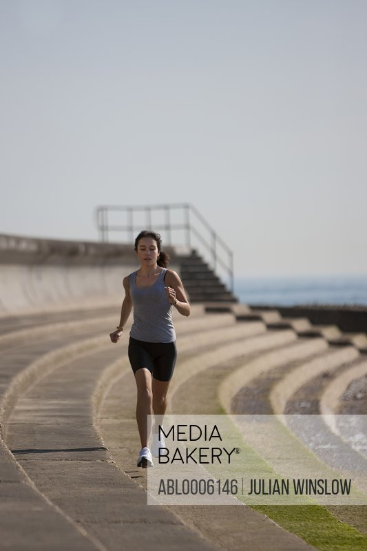 Portrait of a woman running