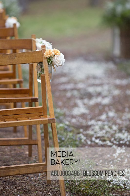 Flower Arrangement on Chairs at Outdoor Wedding Ceremony