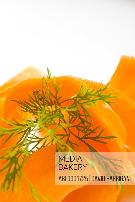 Extreme close up of carrot shavings and dill leaves