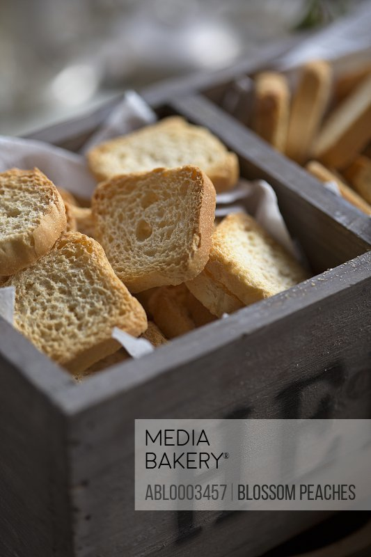 Square Slices of Bread in Wood Box