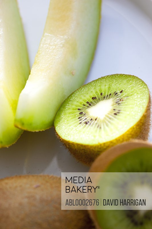 Kiwi Fruits and Melon Slices, Close up view