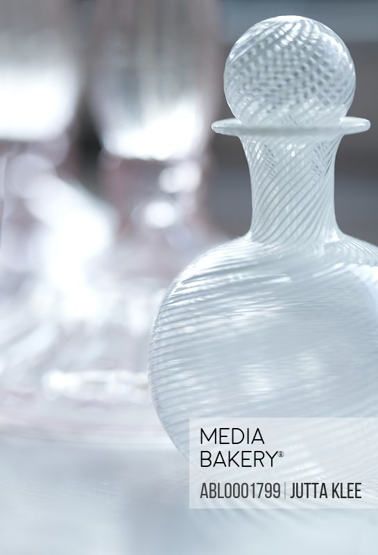 Close up of a small decorative decanter
