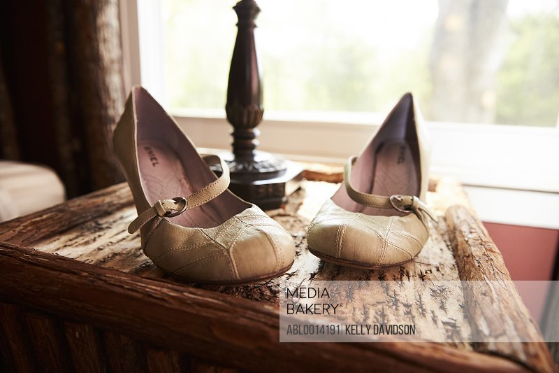 Leather Mary Janes Shoes on Wood Table