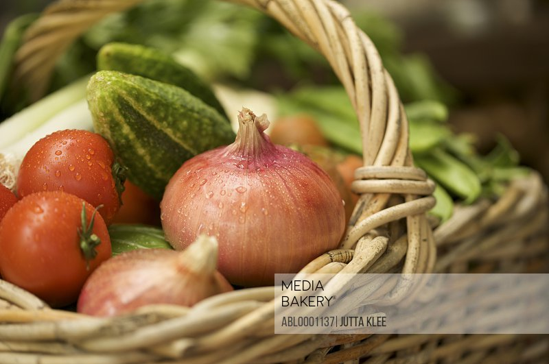Extreme close up of wicker basket filled with mixed vegetables