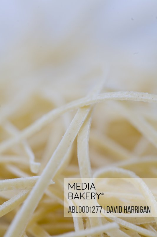Extreme close up of fresh egg pasta tagliatelle