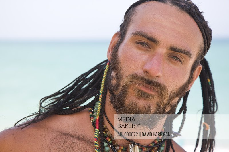 Bearded Man with Long Braided Hair