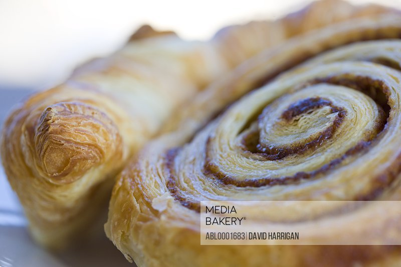 Extreme close up of a Danish pastry