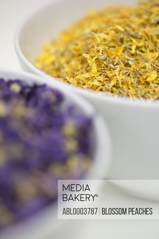 Bowls of Dried Herbs, Close-up View