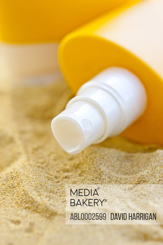 Close up of Bottle of Suntan Lotion