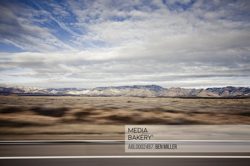 Highway and Mountain Landscape, Blurred Motion