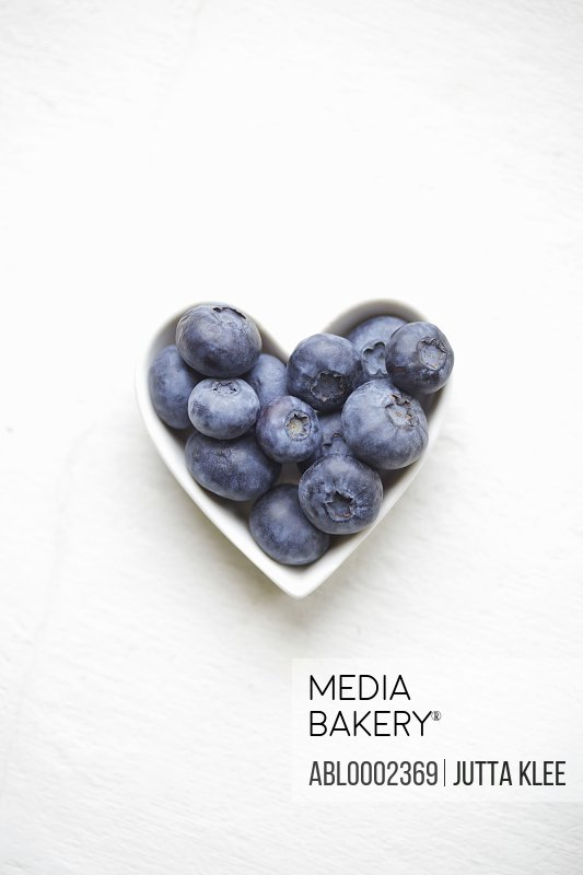 Blueberries in a heart shaped bowl