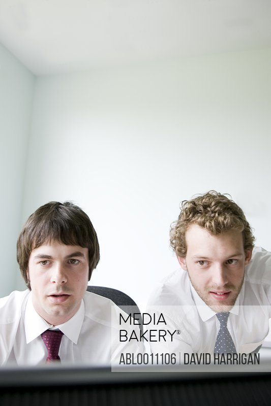 Portrait of two young businessmen looking at computer monitor