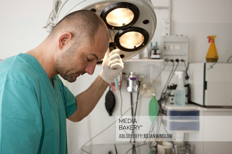 Health professional in operating room