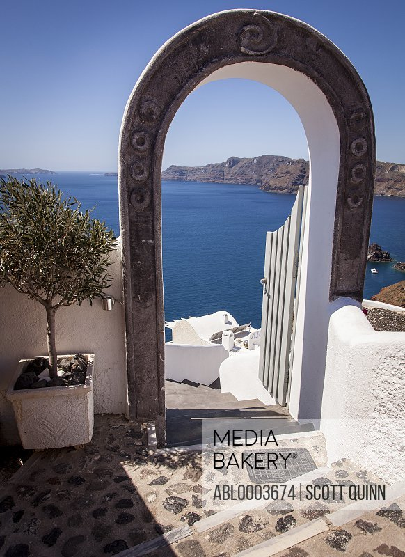 View of the Caldera from Winding Steps, Santorini, Greece