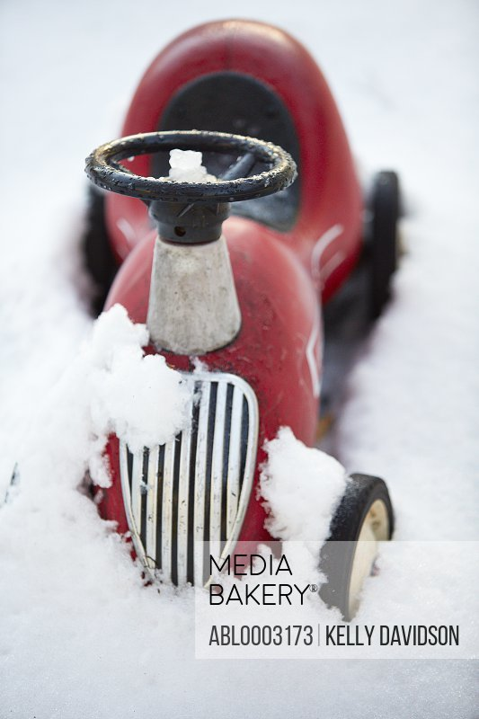 Toy Tractor in Snow