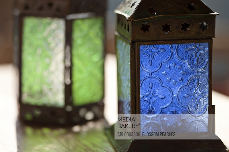Blue and Green Glass Lanterns, Close-up View