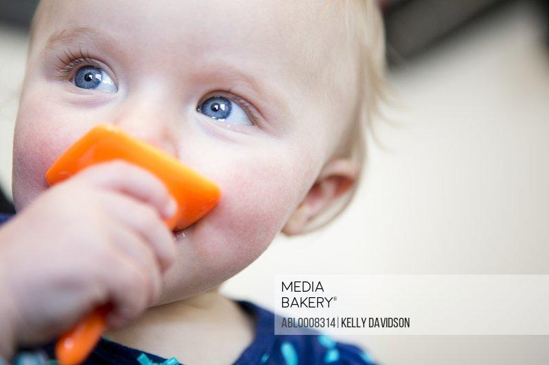 Baby Girl Biting Plastic Toy