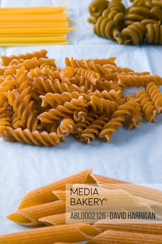 Assorted Pasta Shapes on Blue Tissue Paper