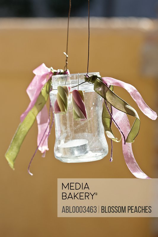 Hanging Glass Jar with Tea Light and Decorations