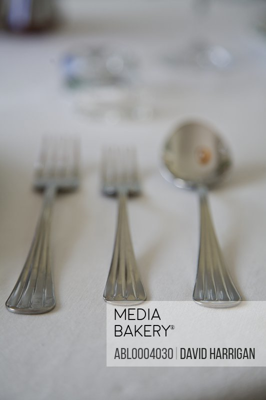 Close up of tableware with forks and spoon