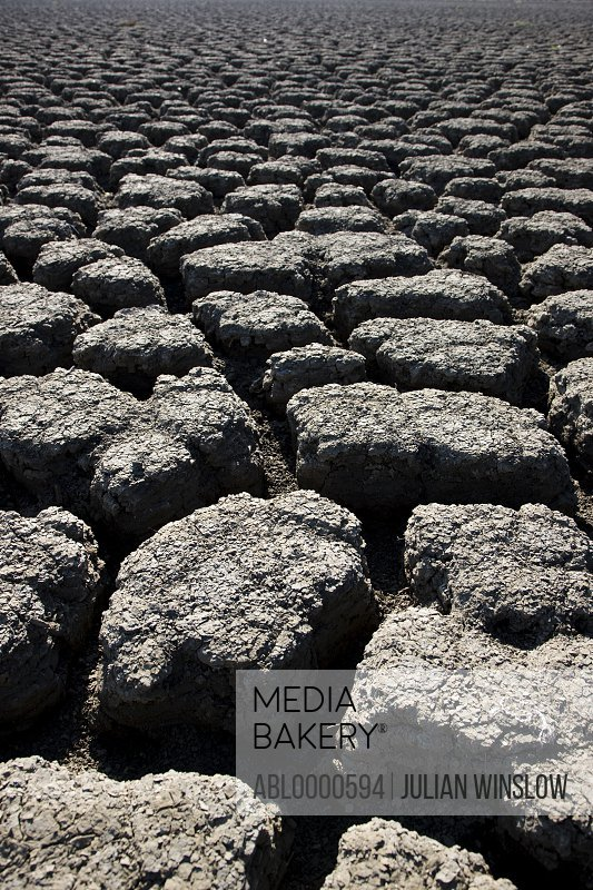 Close up of gray dry soil