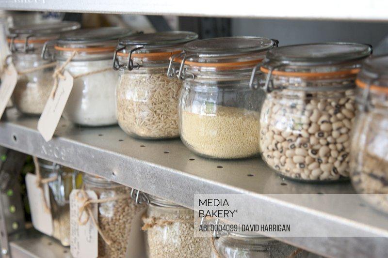 Food Ingredients in Glass Jars