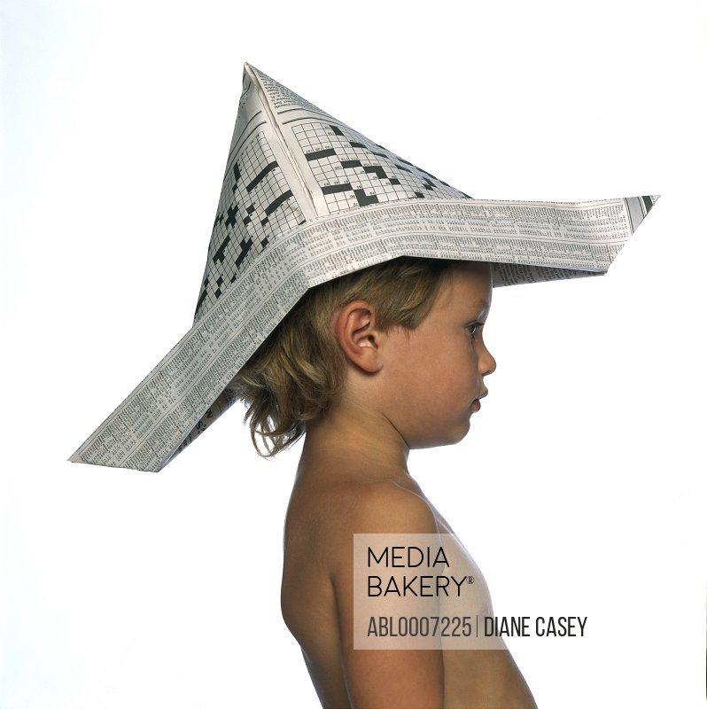 Boy Wearing Newspaper Hat, Profile