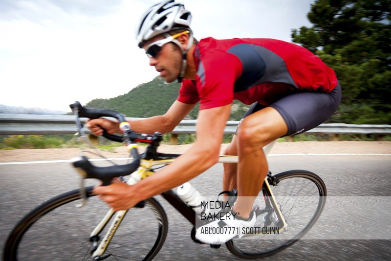 Cyclist Rounding a Bend