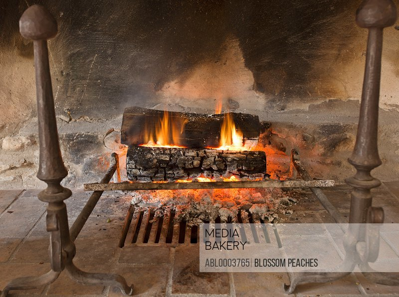 Rustic Fireplace with Burning Logs and Embers