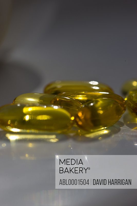 Close up of cod liver oil pills