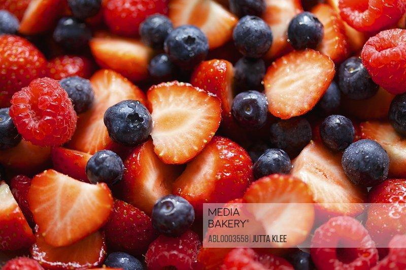 Strawberries, Raspberries and Blueberries, Full Frame