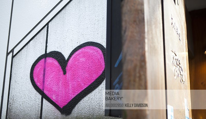 Bright Pink Heart Shape on Wall