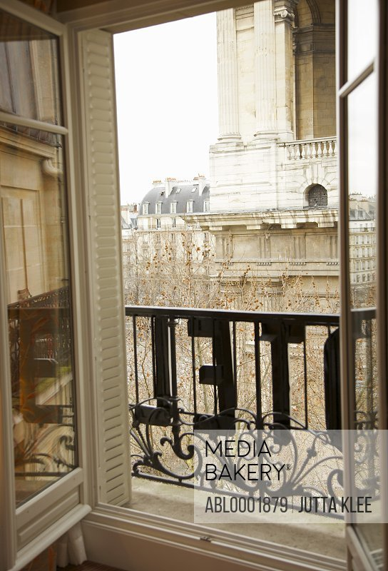 Open window with hotel sign, Paris, France