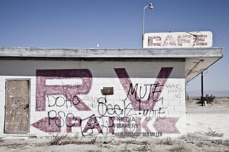 Abandoned Cafe with Graffiti