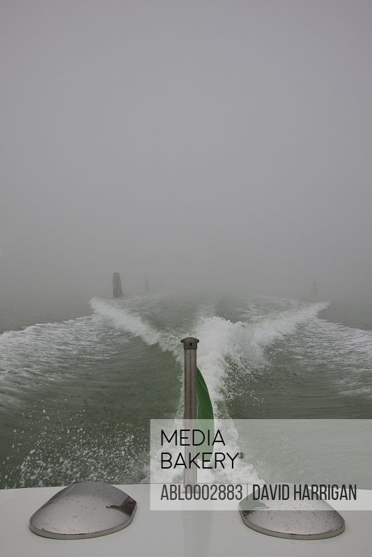 Stern of Motorboat with Water Wake