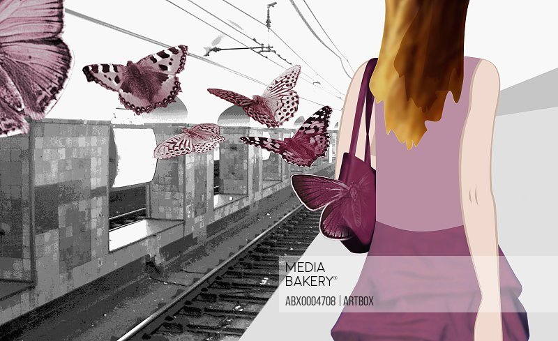 Woman waiting at the train station